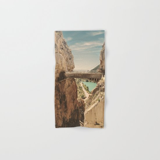 """The most dangerous trail in the world"". El Caminito del Rey Hand & Bath Towel"
