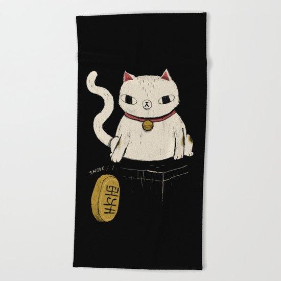 actual lucky cat Beach Towel