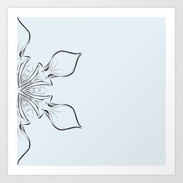 Digital drawing floral abstract design in blue Art Print