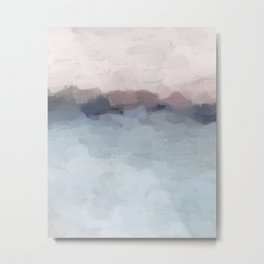 Blush Pink, Mauve Purple, Navy Light Blue, Abstract Painting, Modern Wall Art, Ocean Waves Horizon Metal Print
