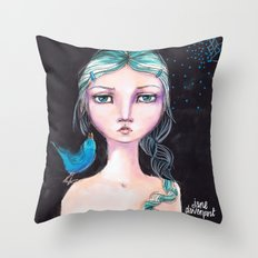 Blue Bird by Jane Davenport Throw Pillow