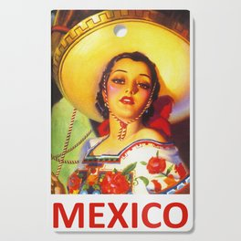 Vintage Mexico Travel Poster Cutting Board
