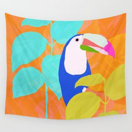 tropical toucan, orange Wall Tapestry