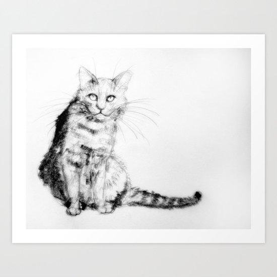 ちょっとしぶい猫 Art Print