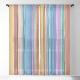 Colorful watercolor stripes Sheer Curtain