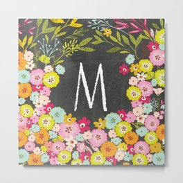M botanical monogram. Letter initial with colorful flowers on a chalkboard background Metal Print