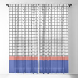Electric Blue & Coral Orange Colour Block Check Pattern Sheer Curtain