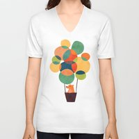 hot air balloon V-neck T-shirts featuring Whimsical Hot Air Balloon by Picomodi
