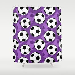 Football Pattern on Purple Background Shower Curtain