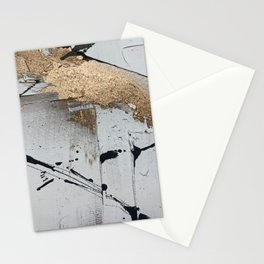 Still: an abstract mixed media piece in black, white, and gold by Alyssa Hamilton Art Stationery Cards