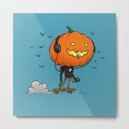 The Skater Pumpkin Metal Print