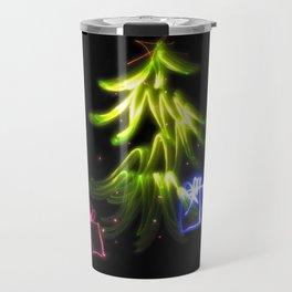 Christmas Lights a tree and presents light painting photograph Travel Mug