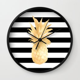 Gold Pineapple Black and White Stripes Wall Clock