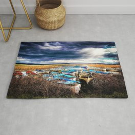 Blue Boats on the Shore Rug