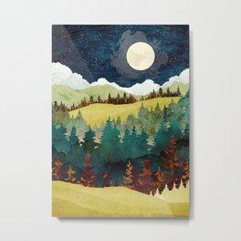 Autumn Moon. Nature abstract art. Vintage illustration. Metal Print