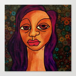 Brown Girl Blue Canvas Print
