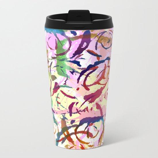 abstract roses silhouettes Metal Travel Mug