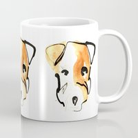 jack russell Mugs featuring Jack Russell by Jen Moules