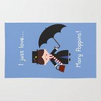 mary poppins Area & Throw Rugs featuring I just love Mary Poppins! by Juliana Motzko
