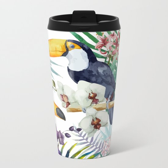 Tropical Bird Pattern 04 Metal Travel Mug