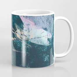 Karma [2]: a vibrant, abstract mixed-media piece in pink, peach, white and teal Coffee Mug