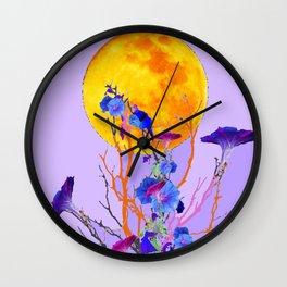 SURREAL LILAC MORNING GLORY FULL MOON Wall Clock