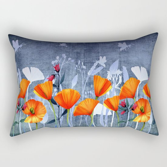 Summer night- Shadow of a Poppy meadow- Flowers on #Society6 Rectangular Pillow