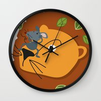 leon Wall Clocks featuring Mouse&Leon by Lara Savoia