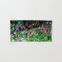 Wild Orchid Lady Slipper Forest Flowers Found in Rhode Island Hand & Bath Towel