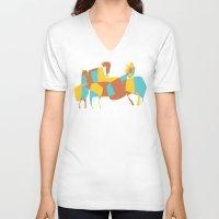 horses V-neck T-shirts featuring Horses by Pablo Correa