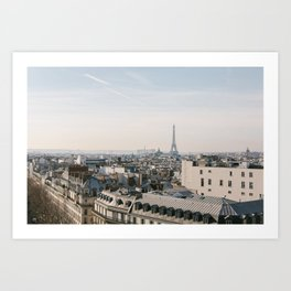 Panoramic View of Eiffel Tower in Paris, France Art Print