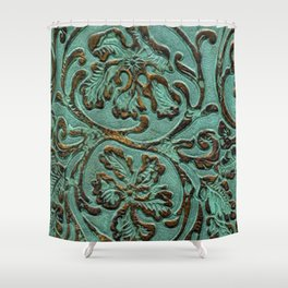 Aqua Flowers Tooled Leather Shower Curtain