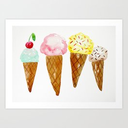 Ice Creams, Watercolor Ice Creams Art Print