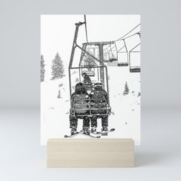 Snow Lift // Ski Chair Lift Colorado Mountains Black and White Snowboarding Vibes Photography Mini Art Print