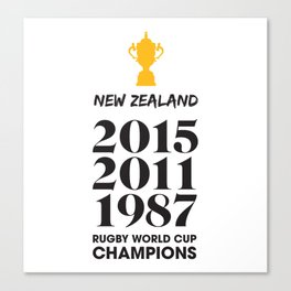 New Zealand Treble Rugby World Cup Champions Canvas Print