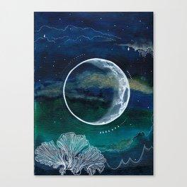 Crescent Moon Mixed Media Painting Canvas Print