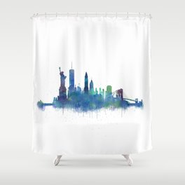 NY New York City Skyline NYC Watercolor art Shower Curtain