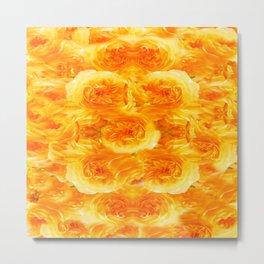 MODERN  GOLDEN ROSES FLOWERS CARPET Metal Print