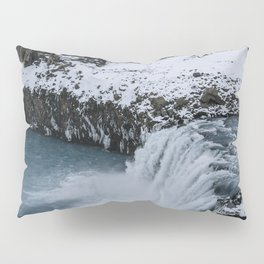 Waterfall in Icelandic highlands during winter with mountain - Landscape Photography Pillow Sham