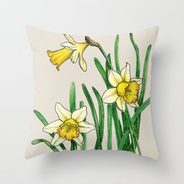 Botanical illustration of a narcissus Throw Pillow