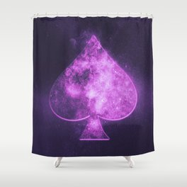 Spade symbol. Playing card. Abstract night sky background Shower Curtain