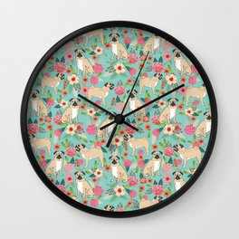 Pug floral dog breed must have gifts for pug lover pet pattern florals Wall Clock