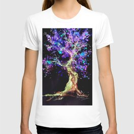 Wild Neon Apple Tree Watercolor by CheyAnne Sexton T-shirt