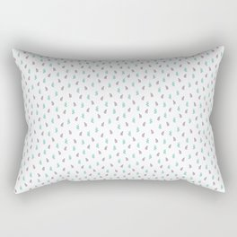 Watercolor Leaf on White. Colorful Floral Doodles Spring Pattern Rectangular Pillow