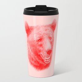 Brown bear is red and pink Travel Mug