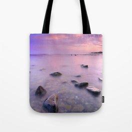 """Pink Sunset. Mediterranean sea."" Tote Bag"