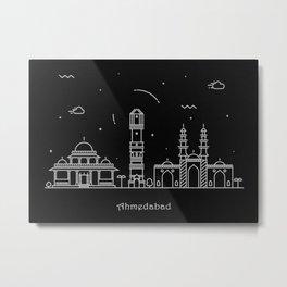 Ahmedabad, India Minimalist Skyline Drawing Metal Print