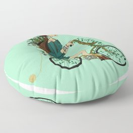 Girl with bicycle Pegas Floor Pillow