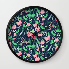 Pretty floral pattern. Sweet Pea. Wall Clock