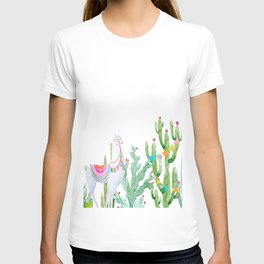 Beautiful Lamas South American Cultural Watercolor painting Floral Cactus Forest T-shirt